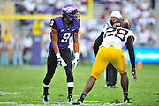 FORT WORTH, TX - SEPTEMBER 13:  Josh Doctson #9 of the TCU Horned Frogs lines up against the Minnesota Golden Gophers on September 13, 2014 at Amon G. Carter Stadium in Fort Worth, Texas.  (Photo by Cooper Neill/Getty Images) *** Local Caption *** Josh Doctson