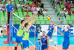 Kozamernik Jan and Ropret Gregor of Slovenia in block during friendly volleyball match between Slovenia and Serbia in Arena Stozice on 2nd of September, 2019, Ljubljana, Slovenia. Photo by Grega Valancic / Sportida