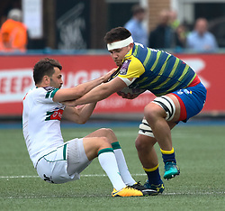 Cardiff Blues' Ellis Jenkins under pressure from Pau's Charly Malie<br /> <br /> Photographer Simon King/Replay Images<br /> <br /> European Rugby Challenge Cup - Semi Final - Cardiff Blues v Pau - Saturday 21st April 2018 - Cardiff Arms Park - Cardiff<br /> <br /> World Copyright © Replay Images . All rights reserved. info@replayimages.co.uk - http://replayimages.co.uk