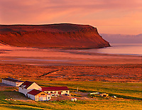Breidavík bathed in the light of the midnight sun, Latrabjarg Peninsula of the Westfjords Iceland, Europe