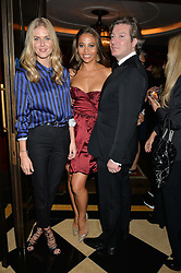 Left to right, DONNA AIR and VISCOUNT & VISCOUNTESS WEYMOUTH at the London launch of Casamigos Tequila hosted by Rande Gerber, George Clooney & Michael Meldman and to celebrate Cindy Crawford's new book 'Becoming' held at The Beaumont Hotel, Brown Hart Gardens, 8 Balderton Street, London on 1st October 2015.
