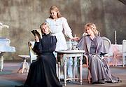 Three Sisters <br /> by Anton Chekhov<br /> Sovremennik Theatre <br /> at Piccadilly Theatre, London, Great Britain <br /> Press photocall / rehearsal <br /> 11th May 2017 <br /> <br /> Olga Drozdova as Olga <br /> <br /> Alyona Babenko as Masha <br /> <br /> Victoria Romanenko as Irina <br /> <br /> <br /> <br /> Photograph by Elliott Franks <br /> Image licensed to Elliott Franks Photography Services