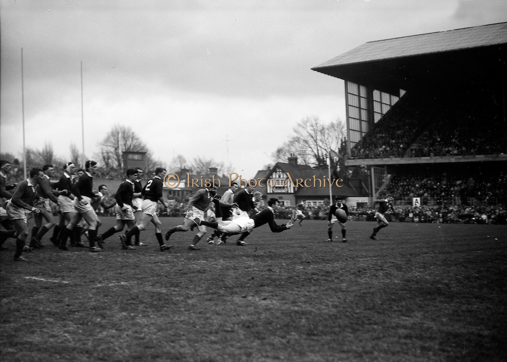 Irish Rugby Football Union, Ireland v Scotland, Five Nations, Landsdowne Road, Dublin, Ireland, Saturday 24th February, 1962,.24.2.1962, 2.24.1962,..Referee- N M Parkes, Rugby Football Union, ..Score- Ireland 6 - 20 Scotland, ..Irish Team, ..F G Gilpin, Wearing number 15 Irish jersey, Full Back, Queens University Rugby Football Club, Belfast, Northern Ireland,..W R Hunter, Wearing number 14 Irish jersey, Right Wing, C I Y M S Rugby Football Club, Belfast, Northern Ireland, ..M K Flynn, Wearing number 13 Irish jersey, Right Centre, Wanderers Rugby Football Club, Dublin, Ireland, ..D Hewitt, Wearing number 12 Irish jersey, Left centre, Instonians Rugby Football Club, Belfast, Northern Ireland,..N H Brophy, Wearing number 11 Irish jersey, Left wing, Blackrock College Rugby Football Club, Dublin, Ireland, ..G G Hardy, Wearing  Number 10 Irish jersey, Stand Off, Bective Rangers Rugby Football Club, Dublin, Ireland,  ..J T M Quirke, Wearing number 9 Irish jersey, Scrum Centre, Blackrock College Rugby Football Club, Dublin, Ireland, ..S Millar, Wearing number 1 Irish jersey, Forward, Ballymena Rugby Football Club, Antrim, Northern Ireland,..A R Dawson, Wearing number 2 Irish jersey, Forward, Wanderers Rugby Football Club, Dublin, Ireland, ..R J McLoughlin, Wearing number 3 Irish jersey, Forward, University College Dublin Rugby Football Club, Dublin, Ireland, ..W A Mulcahy, Wearing number 4 Irish jersey, Captain of the Irish team, Forward, Bohemians Rugby Football Club, Limerick, Ireland,..W J McBride, Wearing number 5 Irish jersey, Forward, Ballymena Rugby Football Club, Antrim, Northern Ireland,..D Scott, Wearing number 6 Irish jersey, Forward, Malone Rugby Football Club, Belfast, Northern Ireland, ..M L Hipwell, Wearing number 8 Irish jersey, Forward, Terenure Rugby Football Club, Dublin, Ireland, ..M G Culliton, Wearing number 7 Irish jersey, Forward, Wanderers Rugby Football Club, Dublin, Ireland, ..Scottish Team, ..K J F Scotland, Wearing number 15 Scottish jersey,  F