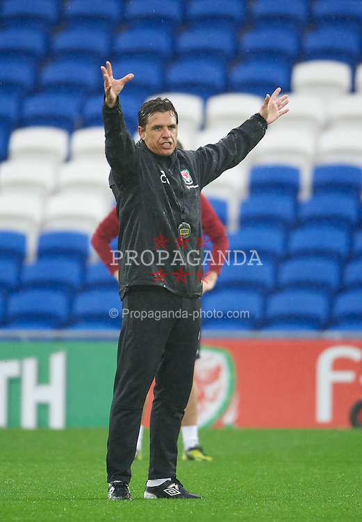 CARDIFF, WALES - Friday, Thursday, October 11, 2012: Wales' manager Chris Coleman during training at the Cardiff City Stadium ahead of the 2014 FIFA World Cup Brazil Qualifying Group A match against Scotland. (Pic by David Rawcliffe/Propaganda)