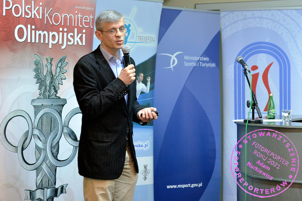 Dr Dariusz Sitkowski (Sport's Institute) speaks during conference of olympic trainers and coaches at COS (Centralny Osrodek Sportowy) in Spala on May 13, 2014.<br /> <br /> Poland, Spala, May 13, 2014<br /> <br /> Picture also available in RAW (NEF) or TIFF format on special request.<br /> <br /> For editorial use only. Any commercial or promotional use requires permission.<br /> <br /> Mandatory credit:<br /> Photo by &copy; Adam Nurkiewicz / Mediasport
