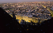 France. Paris. elevated view. Montmartre street. view from Saint Eustache church bell tower