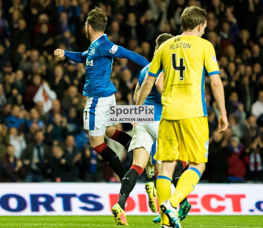 Joe Garner ( Rangers FC ) is mobbed by Lee Hodson ( Rangers FC ), Rob Kiernan ( Rangers FC ) and Clint Hill ( Rangers FC ).Rangers v St. Johnstone, Scottish Premiership, 26th October 2016. (c) Paul Cram | SportPix