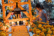 A young girl lights candles on a decorated gravesite during the Day of the Dead festival October 31, 2017 in Tzintzuntzan, Michoacan, Mexico.