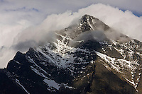 Mount Krivàn (2495 m asl), national symbol of Slovakia. Summit covered in clouds. High Tatras, Slovakia. June 2009. Mission: Ticha