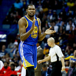 Dec 13, 2016; New Orleans, LA, USA;  Golden State Warriors forward Kevin Durant (35) against the New Orleans Pelicans during the second half of a game at the Smoothie King Center. The Warriors defeated the Pelicans 113-109. Mandatory Credit: Derick E. Hingle-USA TODAY Sports