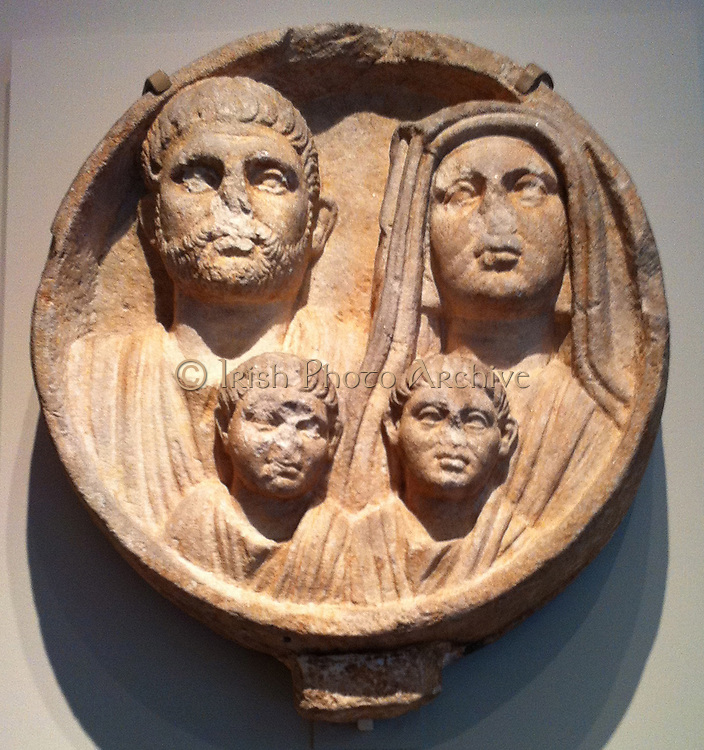 Marble funerary relief (Roman). 2nd-3rd Century AD. Depicts a Thracian family within the Roman Empire.