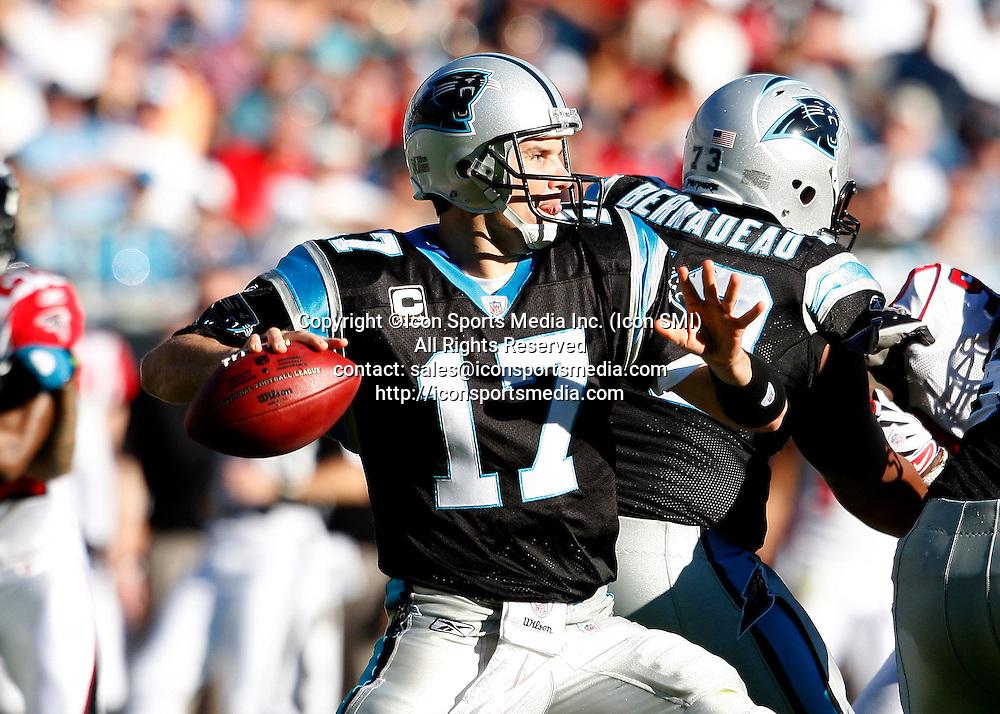 15 November 2009: Carolina Panthers quarterback Jake Delhomme (17) passes in the Carolina Panthers 28-19 victory over the Atlanta Falcons at Bank of America Stadium in Charlotte North Carolina.