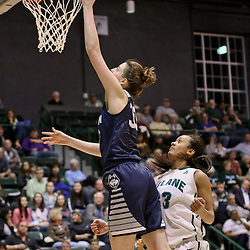 Feb 3, 2016; New Orleans, LA, USA; Connecticut Huskies forward Breanna Stewart (30) shoots over Tulane Green Wave guard Kolby Morgan (3) during the second quarter of a game at the Devlin Fieldhouse. Mandatory Credit: Derick E. Hingle-USA TODAY Sports