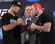 BIRMINGHAM, ENGLAND, NOVEMBER 3, 2011: Mark Munoz (left) and Chris Leben face off at the pre-fight press conference for UFC 138 inside the Hilton Hotel on November 3, 2011.