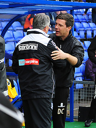 Tranmere Rovers Manager, Micky Adams greets Bristol Rovers Manager, Darrell Clarke - Photo mandatory by-line: Neil Brookman/JMP - Mobile: 07966 386802 - 08/11/2014 - SPORT - Football - Birkenhead - Prenton Park - Tranmere Rovers v Bristol Rovers - FA Cup - Round One