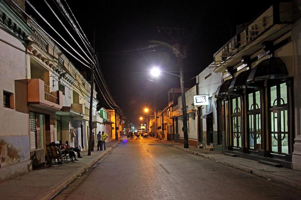 Night street in Bayamo, Granma, Cuba.
