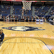 HARTFORD, CONNECTICUT- DECEMBER 19: Crystal Dangerfield #5 of the Connecticut Huskies warming up with team mates before the UConn Huskies Vs Ohio State Buckeyes, NCAA Women's Basketball game on December 19th, 2016 at the XL Center, Hartford, Connecticut (Photo by Tim Clayton/Corbis via Getty Images)