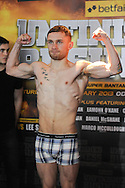 Picture by Ramsey Cardy/Focus Images Ltd +44 7809 235323.08/02/2013.Carl Frampton weighs in for his  EBU Super-Bantamweight Title fight against Kiko Martinez in Odyssey Arena, Belfast.
