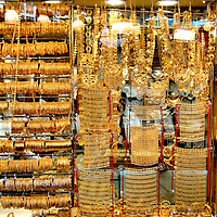 Gold Jewelry, Bangles, Amulets, Necklaces, Pendants at Gold Souk in Dubai, UAE<br />