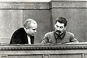 Joseph Stalin and Nikita Khrushchev in 1936. Stalin 1878 –  1953, was Soviet Russia's leader from 1924-1953.Nikita Khrushchev 1894 –  1971, was leader of Soviet russia from 1953-1964.