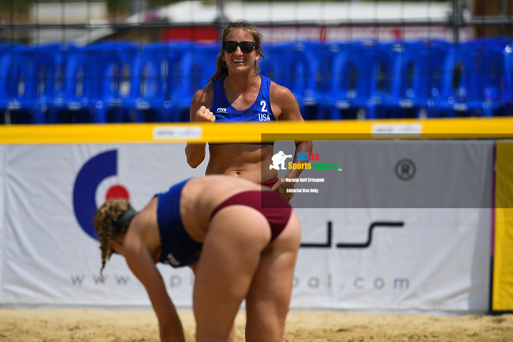 BANGKOK, THAILAND - MAY 13: Scarbrough/Davis (USA) reaction during the Women's Championship Finals on Court 1 at the FIVB Beach Volleyball World Tour - Bangkok Open 2018, King Mongkut's Institute of Technology, Bangkok, Thailand on May 13, 2018.<br /> .<br /> .<br /> .<br /> (Photo by: Naratip Golf Srisupab/SEALs Sports Images)<br /> .<br /> Any image use must include a mandatory credit line adjacent to the content which should read: Naratip Golf Srisupab/SEALs Sports Images