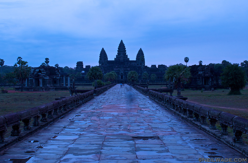The Main Causeway to Angkor Wat, Cambodia<br /> 	<br /> Angkor Wat is an architectural masterpiece. It's been described as more impressive than the Pyramids, and as distinctive as the Taj Mahal. It was built in the early 12th century and is one of the most intact buildings in the Angkor group.