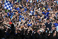 Football - 2017 / 2018 Sky Bet Championship - Cardiff City vs. Reading<br /> <br /> Cardiff City fans cover the pitch after they win promotion to the Premier League, at Cardiff City Stadium.<br /> <br /> COLORSPORT/WINSTON BYNORTH