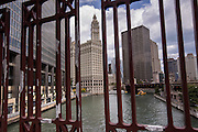 Wrigley Building and the Chicago River from State Street Bridge in Chicago, IL.