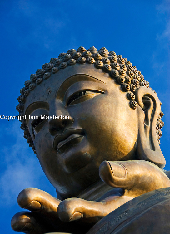 Detail of famous large bronze Big Buddha statue at Po Lin Monastery on Lantau Island in Hong Kong