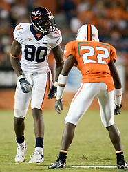 Virginia wide receiver Maurice Covington (80) lines up opposite of Miami (FL)'s Bruce Johnson (22).  The #19 Virginia Cavaliers defeated the Miami Hurricanes 48-0 at the Orange Bowl in Miami, Florida on November 10, 2007.  The game was the final game played in the Orange Bowl.