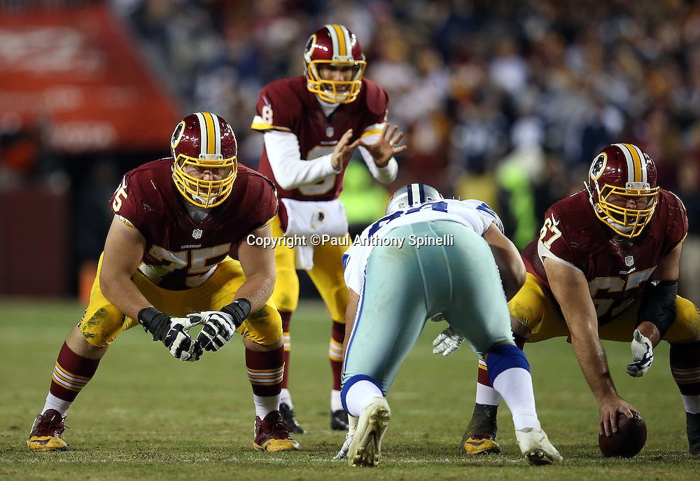 Washington Redskins offensive guard Brandon Scherff (75) and Washington Redskins center Josh LeRibeus (67) get set at the line of scrimmage during the 2015 week 13 regular season NFL football game against the Dallas Cowboys on Monday, Dec. 7, 2015 in Landover, Md. The Cowboys won the game 19-16. (©Paul Anthony Spinelli)