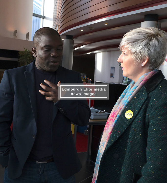 Kweku Adoboli Facing Deportation, Friday 12th October 2018<br /> <br /> Former trader Kweku Adoboli is facing deportation to Ghana having previously been jailed for illegal trading. Local MP Hannah Bardell spoke with Mr Adoboli today after politicians signed a cross-party letter to the Home Secretary imploring him to stop the deporatition.<br /> <br /> Pictured: Kweku Adoboli and Hannah Bardell MP<br /> <br /> Alex Todd | Edinburgh Elite media