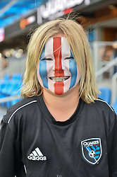 August 29, 2018 - San Jose, California, United States - San Jose, CA - Wednesday August 29, 2018: Fan prior to a Major League Soccer (MLS) match between the San Jose Earthquakes and FC Dallas at Avaya Stadium. (Credit Image: © John Todd/ISIPhotos via ZUMA Wire)