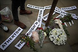 """© Licensed to London News Pictures . 16/08/2015 . Manchester , UK . """" Peterloo """" memorial at the site of St Peter's Field , where fifteen people were killed during a cavalry charge on a democracy protest , 196 years ago (16th August 1819) . Photo credit : Joel Goodman/LNP"""