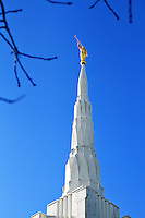 The Spire with Angel Moroni of the Portland, Oregon's LDS Mormon Temple