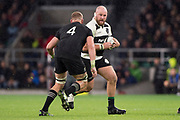 Twickenham, Surrey. England.  Baa Baa's, Ben FRANKS, faces, Luke ROMANO,  during the Killik Cup, Barbarians vs New Zealand. Twickenham. UK<br /> <br /> Saturday  04.11.17<br /> <br /> [Mandatory Credit Peter SPURRIER/Intersport Images]