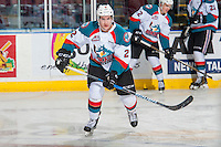 KELOWNA, CANADA - FEBRUARY 13: James Hilsendager #2 of the Kelowna Rockets warms up against the Seattle Thunderbirds on February 13, 2017 at Prospera Place in Kelowna, British Columbia, Canada.  (Photo by Marissa Baecker/Shoot the Breeze)  *** Local Caption ***