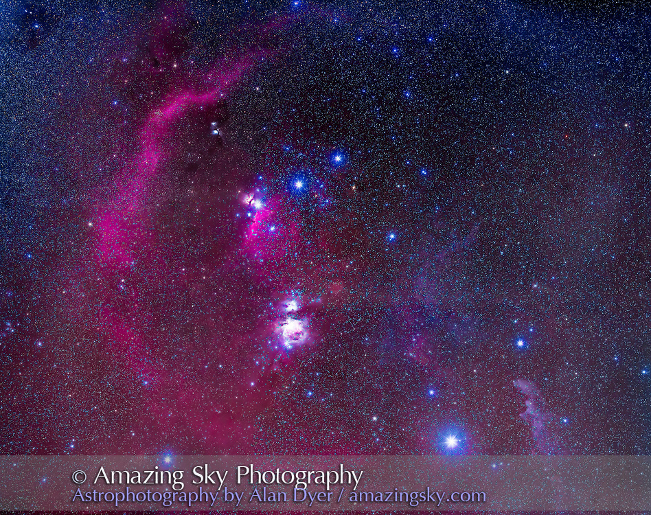 A mosaic of the Belt and Sword region of Orion the Hunter, revealing the diverse and colourful array of nebulas in the area, all a part of a vast star-formation complex. The Orion Nebula itself, Messier 42, is below centre, overexposed here. But also visible are the large red Barnard&rsquo;s Loop, at left, and the blue Witchhead Nebula, IC 2118, at right, illuminated by the bright star Rigel. The Horsehead Nebula is visible below the left start of the Belt of Orion. Above it is the pinkish Flame Nebula, NGC 2024, and above it the bluish M78 reflection nebula complex.<br /> <br /> This is a 4-panel mosaic shot Jan 1, 2016 from home on a very clear night, though with some sky gradients. Each panel is a stack of 5 x 3-minute exposures at f/2.8 with the Canon L-Series 135mm lens, on the filter-modified Canon 5D MkII at ISO 1000. The camera was tracking but unguided on the AP Mach One mount. Orion was on the meridian but even so there was a lot of difference in sky brightness between panel segments. Also, trails from geostationary satellites appeared in each frame, as Orion was then near the opposition point, due south at midnight. I eliminated these with a Median combine stack mode for each panel segment. Plus from my latitude southern Orion tends to sit in brighter sky gradients, so the lower panels were brighter and more sky fogged than the upper panels.<br /> <br /> All stacking and stitching in Photoshop CC 2015.