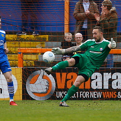 Braintrees keeper Nathan McDonald during the Vanorama National League South match between Braintree Town FC and Gloucester City FC at the IronmongeryDirect Stadium, Essex on 28 April 2018. Photo by Matt Bristow.