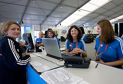 Volunteers at welcome desk in Media center at 12th IAAF World Championships in Athletics Berlin 2009, on August 14, 2009, in Berlin, Germany. (Photo by Vid Ponikvar / Sportida)