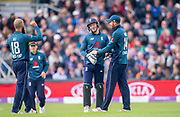Picture by Allan McKenzie/SWpix.com - 19/05/2019 - Sport - Cricket - 5th Royal London One Day International - England v Pakistan - Emerald Headingley Cricket Ground, Leeds, England - England's Jos Buttler is congratulated on stumping Pakistan's Sarfaraz Ahmed.