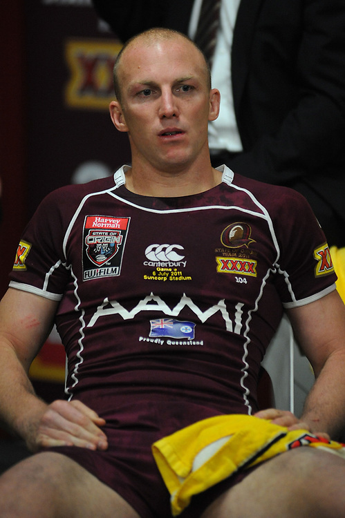 July 6th 2011: Maroons captain, Darren Lockyer sits and rests after game 3 of the 2011 State of Origin series at Suncorp Stadium in Brisbane, QLD, Australia on July 6, 2011. Photo by Matt Roberts / mattrimages.com.au / QRL