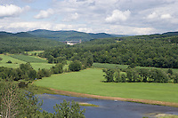 Comerford Dam and Upper Valley Connecticut River landscape at Monore, NH