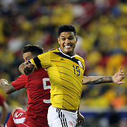 Teofilo Gutierrez, Colombia, in action during the Columbia Vs Canada friendly international football match at Red Bull Arena, Harrison, New Jersey. USA. 14th October 2014. Photo Tim Clayton