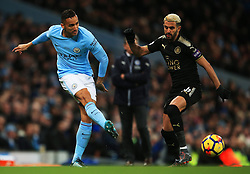 Danilo of Manchester City and Riyad Mahrez of Leicester City - Mandatory by-line: Matt McNulty/JMP - 10/02/2018 - FOOTBALL - Etihad Stadium - Manchester, England - Manchester City v Leicester City - Premier League