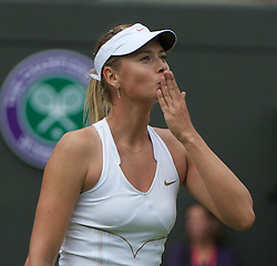 24.06.2011, Wimbledon, London, GBR, Wimbledon Tennis Championships, im Bild Maria Sharapova (RUS) celebrates after her Ladies' Singles 2nd Round victory on day five of the Wimbledon Lawn Tennis Championships at the All England Lawn Tennis and Croquet Club, EXPA Pictures © 2011, PhotoCredit: EXPA/ Propaganda/ *** ATTENTION *** UK OUT!