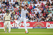 Stuart Broad goes close to getting a wicket during 2nd day of the Investec Ashes Test match between England and Australia at Trent Bridge, Nottingham, United Kingdom on 7 August 2015. Photo by Shane Healey.