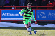 Forest Green Rovers Gavin Gunning(16) clears the ball during the EFL Sky Bet League 2 match between Accrington Stanley and Forest Green Rovers at the Wham Stadium, Accrington, England on 17 March 2018. Picture by Shane Healey.
