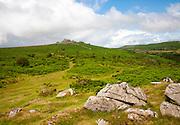 Granite upland landscape Hound Tor, Dartmoor national park, Devon, England, UK