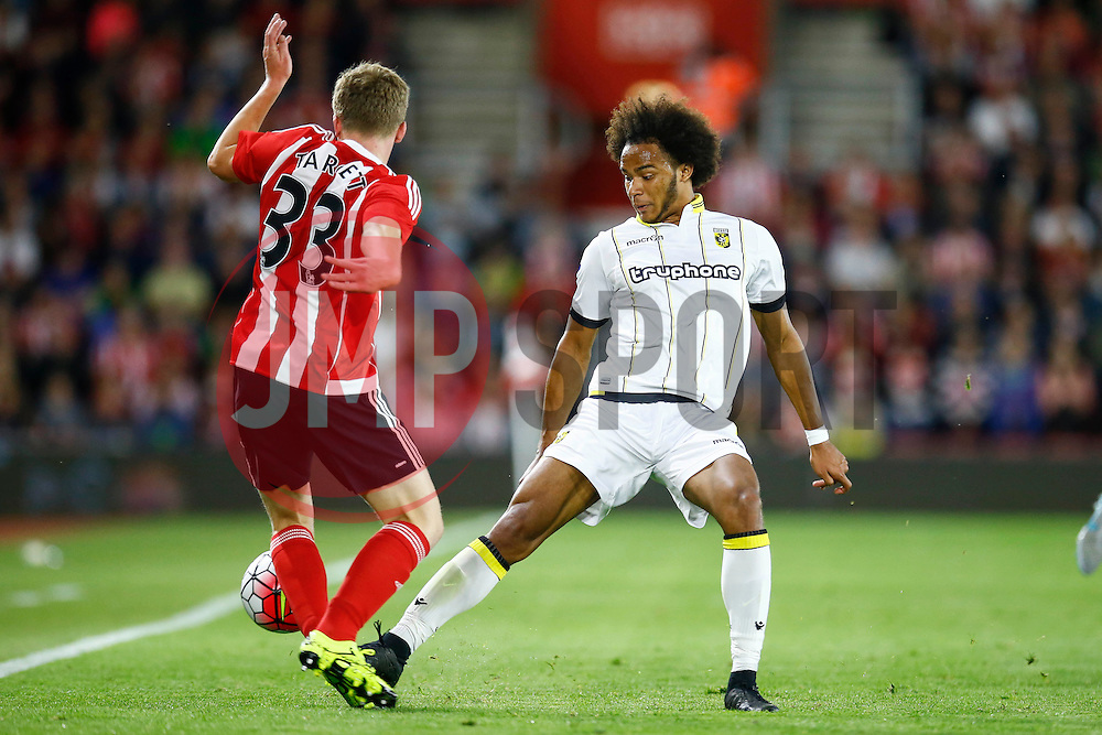 Isaiah Brown of Vitesse Arnhem tackles Matt Targett of Southampton - Mandatory by-line: Jason Brown/JMP - Mobile 07966386802 - 31/07/2015 - SPORT - FOOTBALL - Southampton, St Mary's Stadium - Southampton v Vitesse Arnhem - Europa League